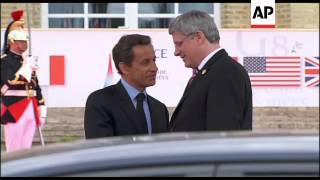 Group of Eight leaders arrive, Sarkozy comments