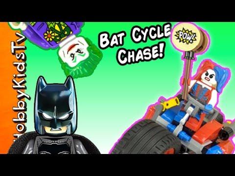 BATMAN vs HARLEY QUINN! Gotham City Motorcycle Chase Lego Build + Joker Captures Robin HobbyKidsTV