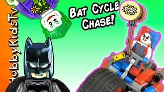BATMAN vs HARLEY QUINN! Gotham City Motorcycle Chase Lego Build + Joker Captures Robin HobbyKidsTV
