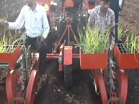 sugarcane transplanter at KVK Baramati.avi