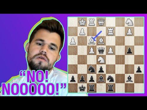 ¡MAGNUS CARLSEN deja atrapada su DAMA contra un usuario de Chess24!