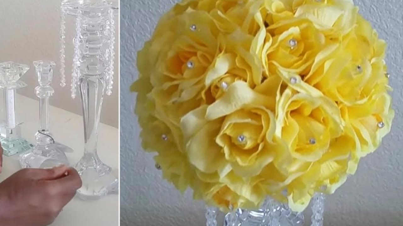 DIY CRYSTAL ROSE CANDLE STICK CHANDELIER CENTERPIECE