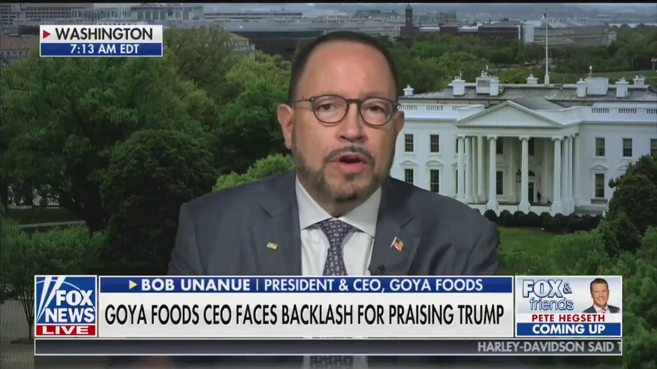 """Goya Foods CEO """"not apologizing"""" for praising President Trump"""