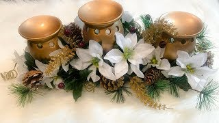 HOW TO MAKE A CHRISTMAS CANDLESTAND CENTERPIECE !🎄🎅 DOLLAR TREE