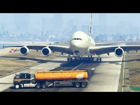 "GTA5 -- An ""Oil Tanker"" Accidentally Came in the Runway during landing of A380..."