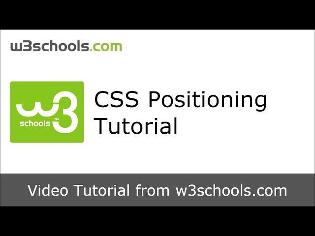 W3Schools CSS Positioning Tutorial