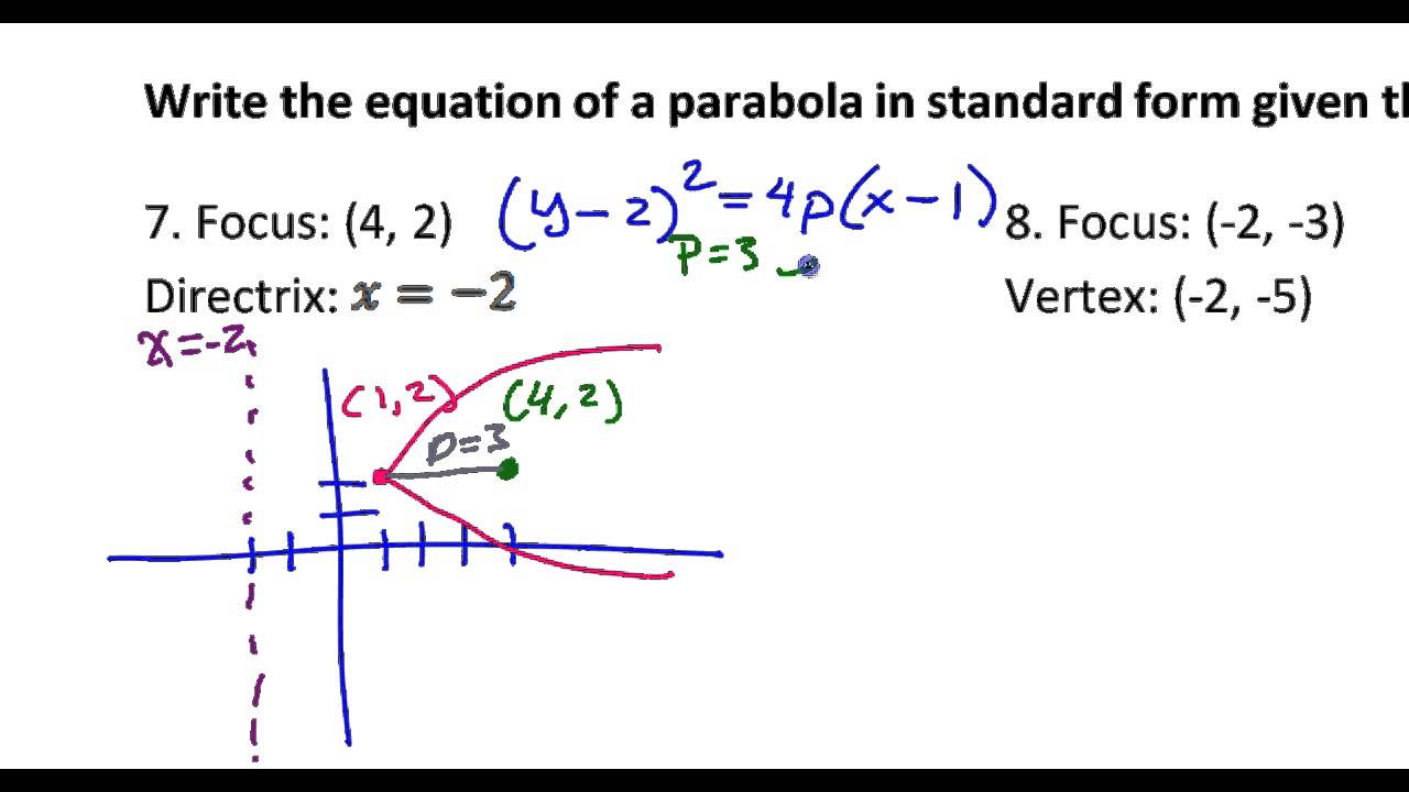 Day 12 test c 7 to 9 write the equation of the parabola given day 12 test c 7 to 9 write the equation of the parabola given the focus vertex or d falaconquin