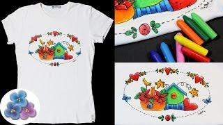 Como Pintar en Tela con Ceras para Lavadora *Crayon Fabric Painting*  Giz Cera Pintura Facil