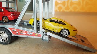 Fast Line Truck Transporting 6 Toy Cars Video for Kids