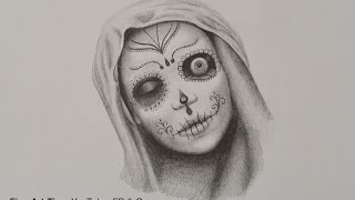 How to Draw a Catrina (Lady With Skull Make-Up) - Halloween Special