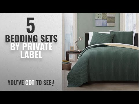 Top 10 Private Label Bedding Sets [2018]: 3 Piece King Project Runway Olive/Gold Quilt Set