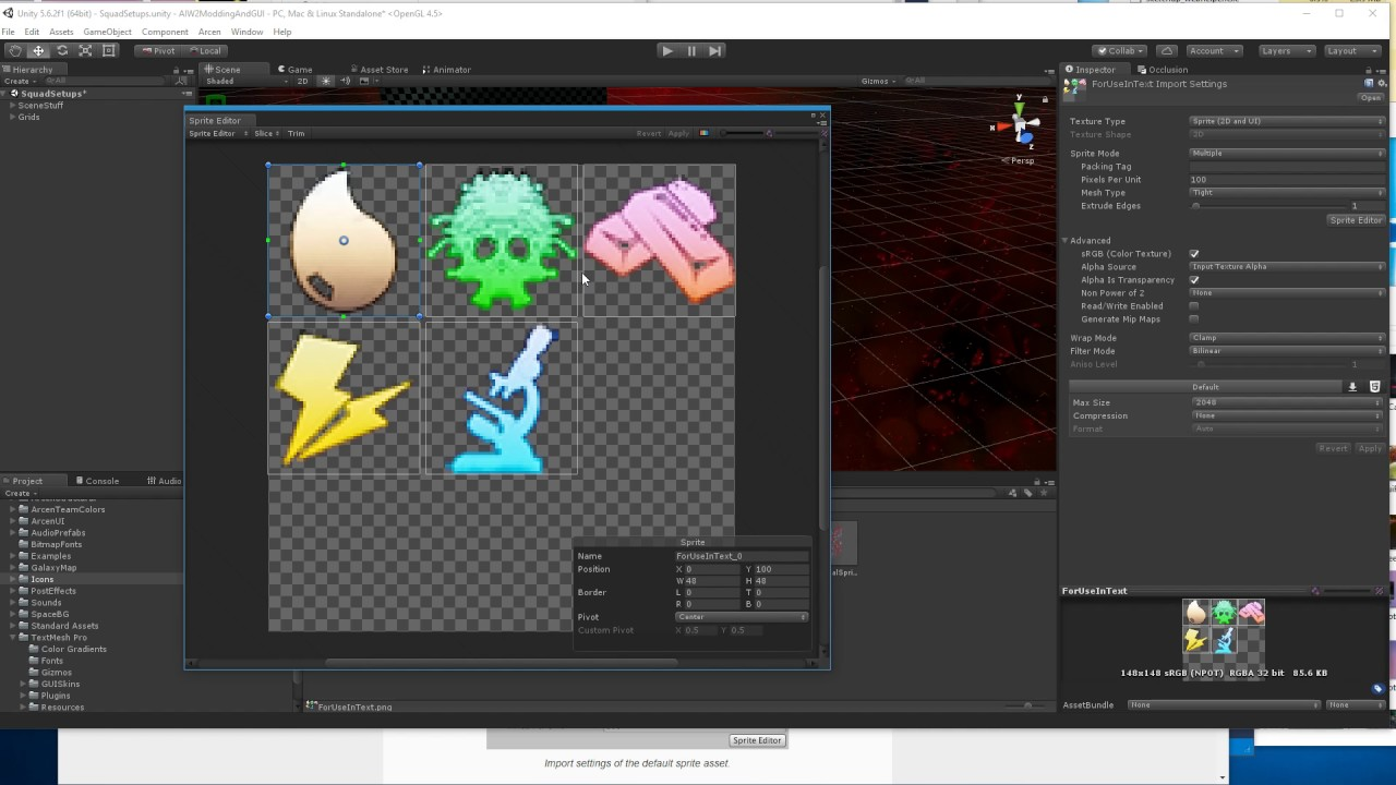AI War 2 - Analysis of TextMeshPro Sprites as used in Unity 5 6