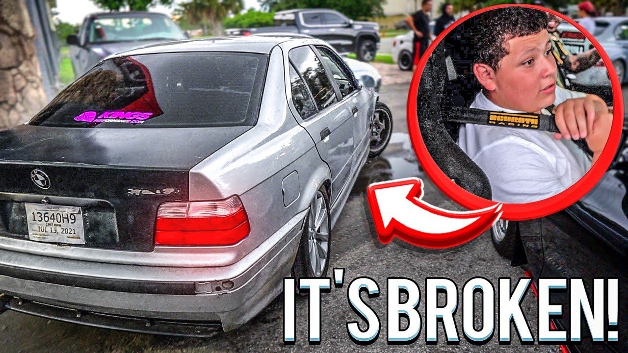 TAKING MY LITTLE BROTHER FOR A RIDE IN MY DRIFT CAR AND I BROKE IT !   BRAAP VLOGS