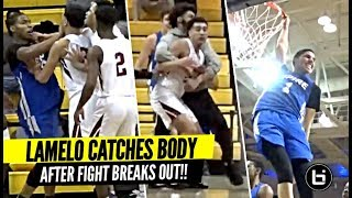 lamelo-ball-snaps-after-fight-breaks-out-bodies-defender-crazy-dunks