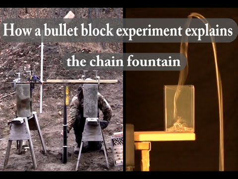 A bullet block experiment that explains the chain fountain
