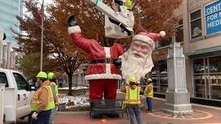 Giant Santa pieced together on the Kalamazoo Mall