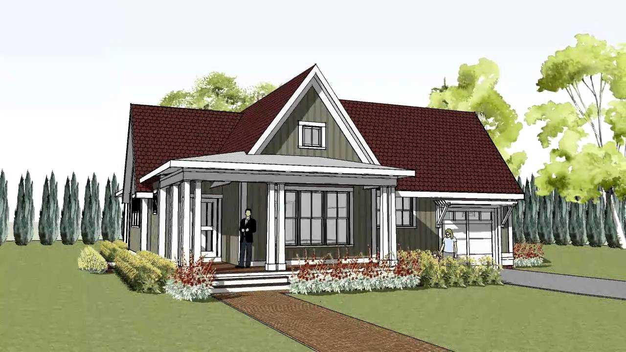 simple yet unique cottage house plan with wrap around porch