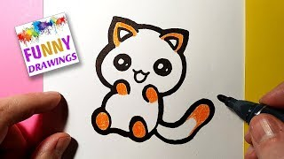 easy draw drawing kitten funny