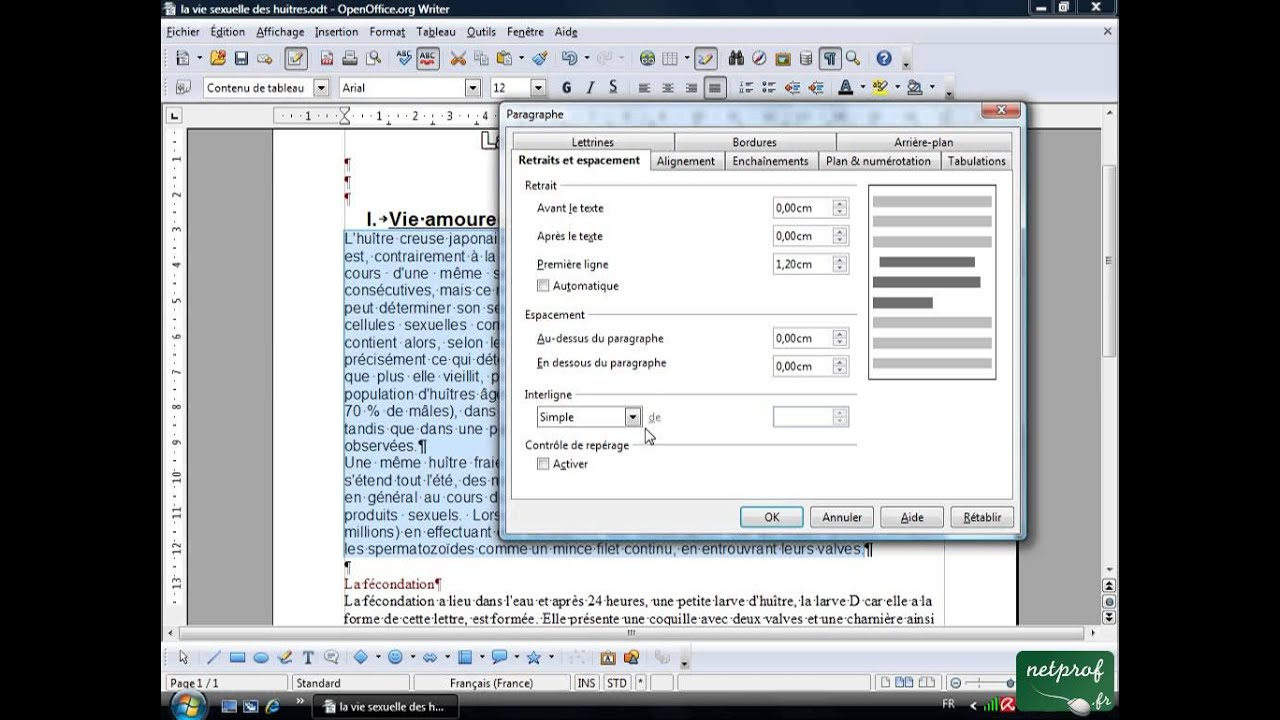 Open office ou libre office texte long 4 mise en forme de paragraphe youtube - Open office 4 en francais ...