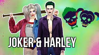 sims 4 harley quinn and the joker from suicide squad cas
