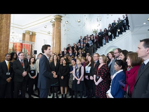Prime Minister Trudeau delivers a speech at Canada House in London