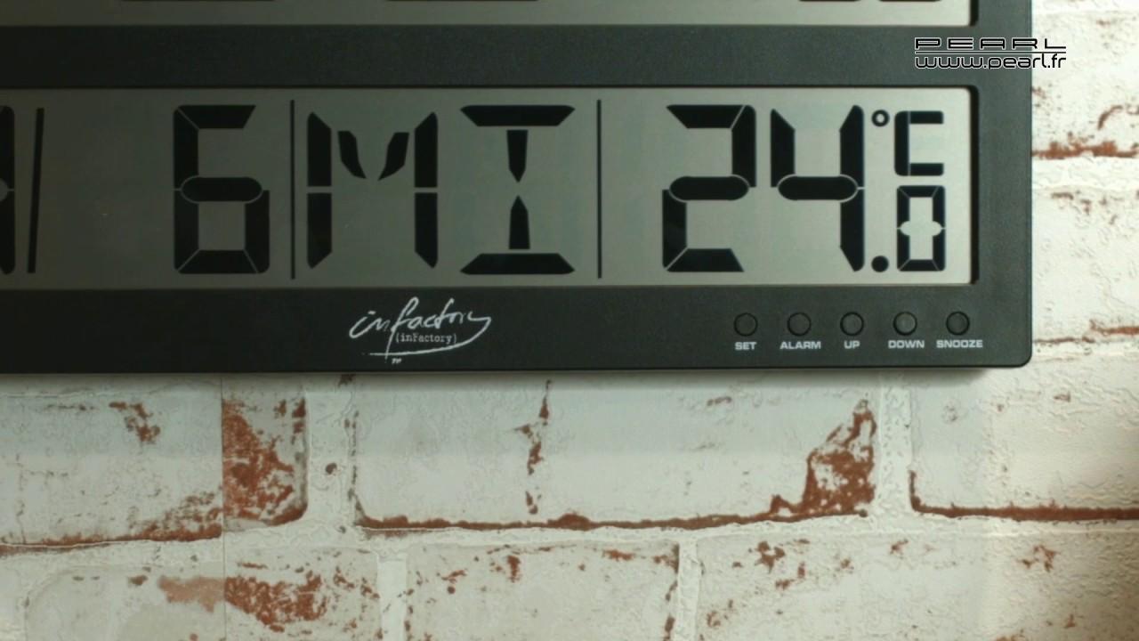nx3973 horloge murale radio pilotee ecran lcd youtube. Black Bedroom Furniture Sets. Home Design Ideas