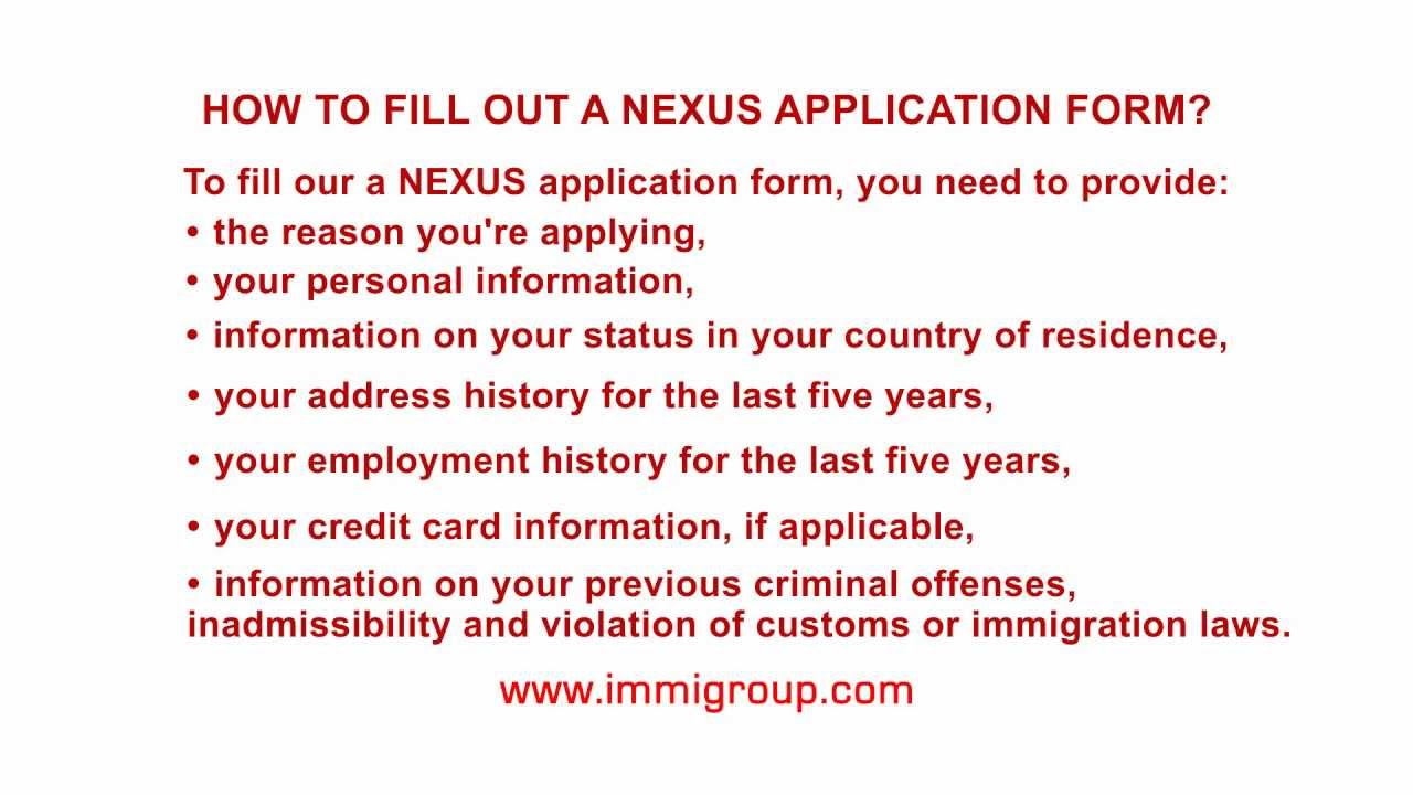 how to fill out a nexus application form youtube