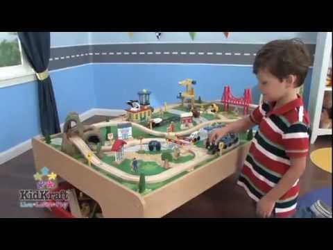 KidKraft Waterfall Mountain Train Set And Table 17850   Toy Train Set With  Wooden Table   YouTube