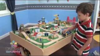 Kidkraft Waterfall Mountain Train Set And Table 17850 - Toy Train Set With Wooden Table