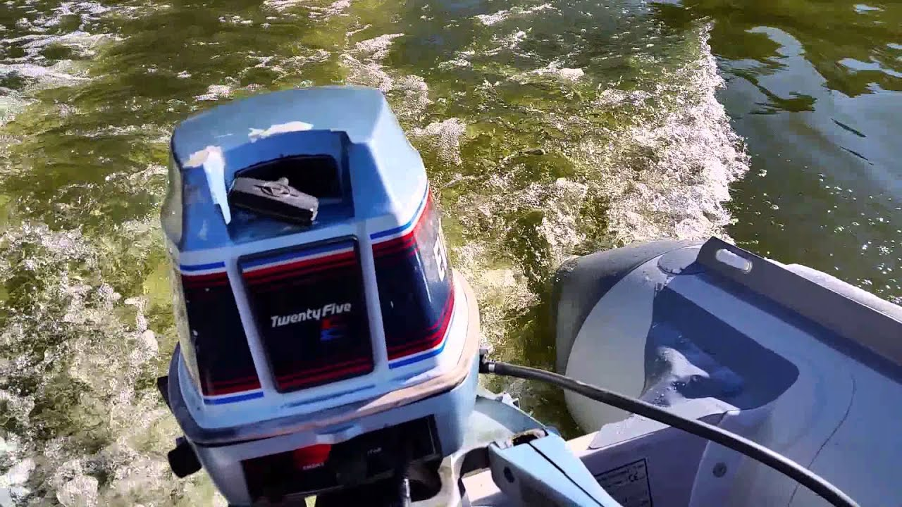 25hp Evinrude Outboard Motor On Bris Inflatable Boat