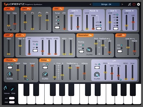 Lorentz Polyphonic Synthesizer by iceWorks, Demo for iPad