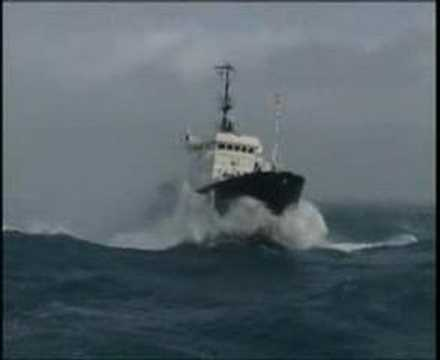 French coastguard in storm.