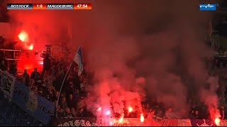 FC Hansa Rostock -1.FC Magdeburg 10.Spieltag Pyro Spielunterbrechung Tore