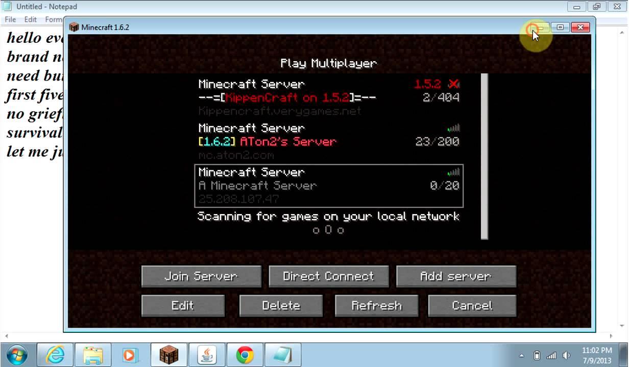 minecraft 1 6 0 servers