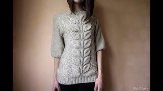 Вязаный свитер регланом листья. Описание свитера ♥ Вяжем спицами ♥ Wild Rose ♥