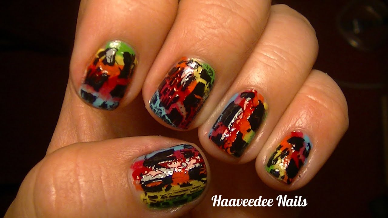 Rainbow with black crackle nail art design - YouTube