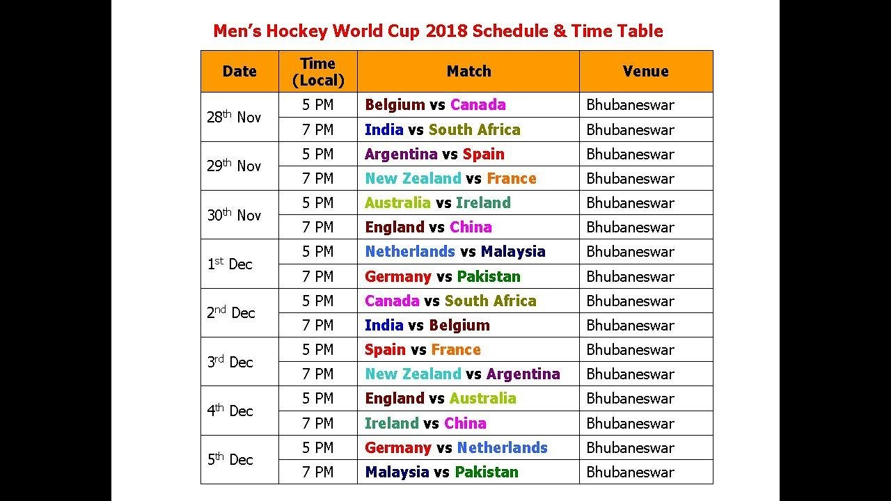 Men S Hockey World Cup 2018 Schedule Time Table