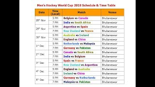 Men's Hockey World Cup 2018 Schedule & Time Table