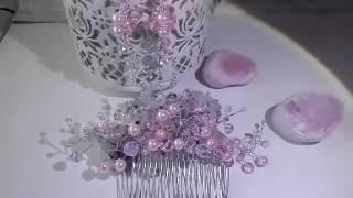 Абитуриентски гребен-украса за коса и обици- Tender Rose от CharmyRose.com