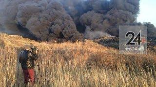 Подробности крупного пожара на промышленной свалке в Нижнекамске