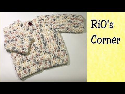 [Crochet] Baby Sweater For Beginner | Móc áo Khoác Cho Bé | RiO's Corner