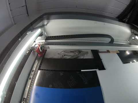 Time lapse photo engraving with our new Trotec speedy 360 on anodized aluminium