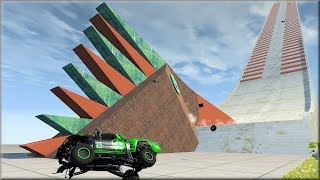 BeamNG Drive Abandoned Speed Bump Hill Crash Testing - Insanegaz