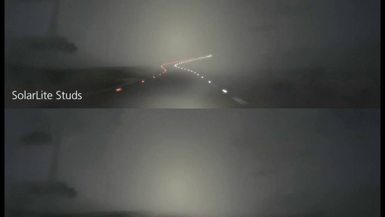 Solarlite Roads Studs Compared To Retro Reflectors Cat S Eyes In Fog Youtube