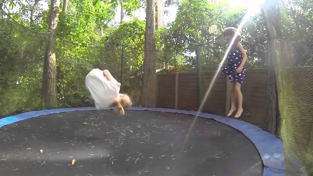 Girl on trampoline video hot slut teen blonde