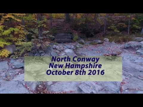 Drone flight, fall foliage in North Conway New Hampshire.
