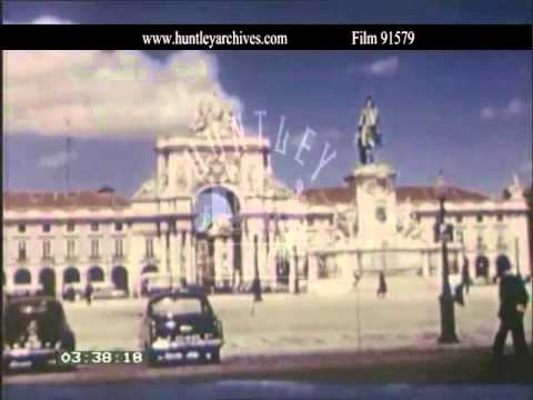 Lisbon in the 1950's.  Archive film 91579