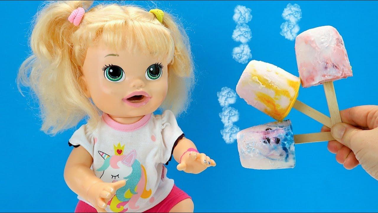 МОРОЖЕНОЕ ИЗ ДЕТСКОГО ЙОГУРТА Как Мама Готовила Дома Мультик с Куклами Для детей 108мама тв