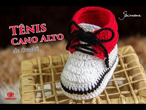 14fcd58cc9fc2 Tênis de Crochê Infantil Cano Alto | Professora Simone | Parte 1 ...