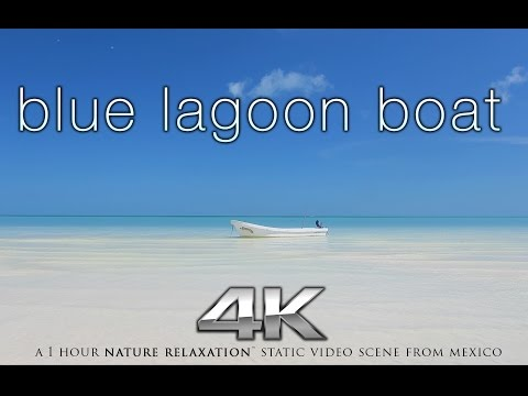 """Blue Lagoon Boat + Beach"" 4K Nature Relaxation™ Static Video / Screensaver 